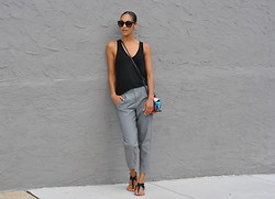 Danielle A - Lululemon Get It On Pants, Urban Outfitters Sandals, Theory Anta Mini Flap Bag, Urban Outfitters Emma Sunglasses, Alexander Wang Classic Pocket Tank - And go