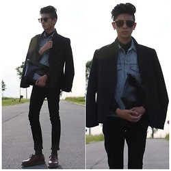 Jordan L - H&M Blazer, Levi's® Denim Vest, Topman Jeans, Dr. Martens Shoes - Double breasted blazer.