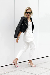 Lian G. - Warehouse Jacket, Mango Top, Frontrowshop Jeans, Guess? Shoes - Allmost All White
