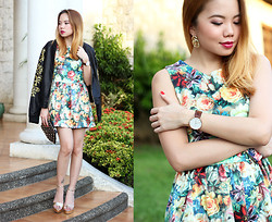 Stephanie D - Pinkaholic Fashion Shoppe Floral Dress, Forever 21 Leather Jacket, Daniel Wellington Classic Bristol Lady - Blossomy