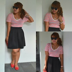 Dana Lopez - Old Navy Red Stripes, Sm Dept Black Skirt, Sunnies By Charlie - Don't Look Back