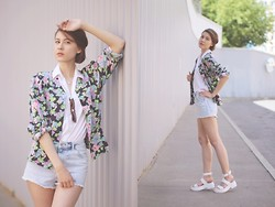 Irina T. - Vintage Jacket, Ray Ban Sunglasses, H&M Shorts, Linzi Chunky Sandals, Zara Shirt - 90's kid