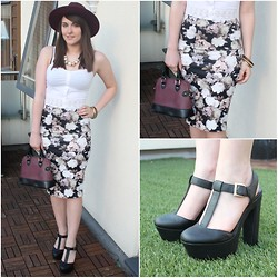 Gabby P. - New Look Floral Pencil Skirt, New Look White Lace Detail Crop Top, New Look Black T Bar Heels, Miss Selfridge Purple Black Bag, River Island Dark Red Fedora Hat - BARGAIN OUTFIT ;)