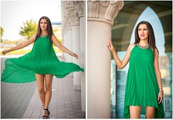 Andreea Manole - Choies Dress - Spaghetti Strap Pleated Dress with Asymetric Hem in Green