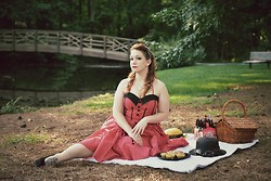 Gwen G. - Modcloth Red Polka Dot Dress, Payless Black Wedges, Modcloth Black Hat - Vintage Picnic