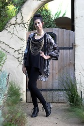Rachel Kraus - Cotton On Black Sleeveless Top, H&M Patterned Kimono, Forever 21 Gold Necklace, Cotton On Black Leggings, Forever 21 Gold Body Chain, Diba Black Heeled Booties - Black and gold