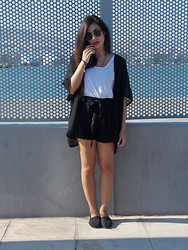 Stella G - Shorts, Zara T Shirt, H&M Shirt, Toms Shoes - B&W