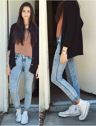"Monica S. - Forever 21 Oversize Cardigan, Acid Reign Washed Jeans, Converse High Tops - ""High tops any day, You're in your skinny jeans anyway"""