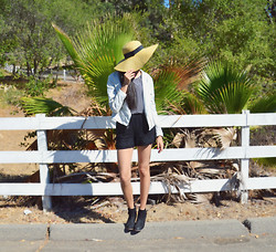 Monica S. - Windsore Sun Hat, Forever 21 High Waisted Shorts, Pacsun Ankle Boots - Ride the Coattails to the Finish Line.