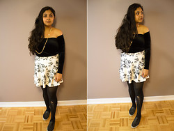 Maha Hawk - Forever 21 Flower Necklace, Garage Off The Shoulder Velvet Top, Forever 21 Floral Skirt, Call It Spring Slip On's - Dark Florals