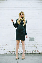 Jess Dempsey - Kirilee Johnson Dress, Kg By Kurt Geiger Booties, Saint Laurent Ring, Asos Ring - The Leather Dress