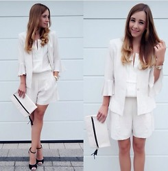 Clean Couture Lu - H&M Blazer And Shorts, Calvin Klein Blouse - White all over