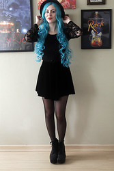 Vanessa Schmeling - Black Hat, Black Lace Top, Black Skirt, Look Chic Store Blue Wig, Black Ankle Boot, Dots Pantyhose - Black <3