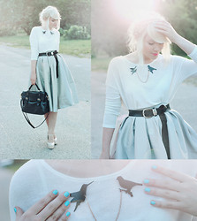 Kerti P. - Choies Skirt, Ebay Bird Brooch, Stylemoi Messenger Bag, Tally Weijl White Cardigan, Choies Shoes - Su-su-sugar town.