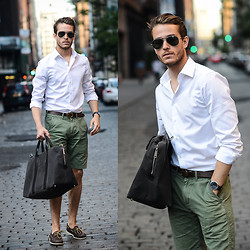 Adam Gallagher - Boatshoe, Similar Here   > Shorts, Shirt, Sunglasses, Jack Spade Duffle - Spade