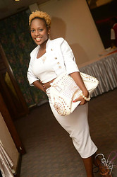 Faith Onsinyo - Gold Leaf Brooch, Seinkeita Midi Skirt, Crop Top, Atmosphere Heels - All white in seinkeita couture