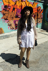 Maha Hawk - H&M Fedora Hat, Forever 21 Crochet Cardigan, H&M White Dress, Target Brown Ankle Booties - Another Summer Day