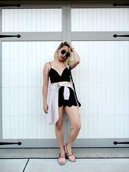 Likkie Xiong - Out Of Cropped Bralette, Scalloped Shorts, Tommy Hilfiger Espadrilles, Akira Chicago Sunglasses - Black Beauty