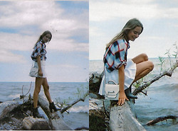 Sonya Esman - Mackage Bag Rubie, Plaid Top, American Apparel Pleated Skirt, Asos Pointed Toe Boots - Sea salt.
