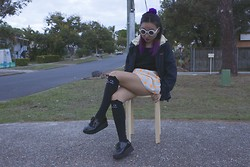 Connie Li - Asos Sunnies, O Mighty Weekend Dot Skort, Lazy Oaf Cat Knee High Socks, Ebay Black Creepers, Thrifted Parka, Highrack Fluffy Scrunchie - Purple Cats