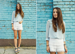 Emma Istvanffy - Blackfive Shirt, From A Market In Sardegna Lace Shorts, Humanic Sandals - Something Old, Something Blue