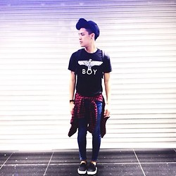 Sham S. - Boy London Tee, Black Slip Ons, Topman Skinny Jeans, Black Snapback, Cotton On Checkered Plaid Shirt - Boy London