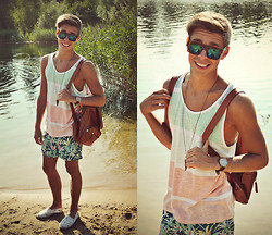 Edgar - H&M Floral Print Swim Shorts, Primark Washed Out Vest, Primark White Espadrilles, Brown Leather Backpack, Brown Leather Watch, Topman Metal Triangle Necklace, Primark Leopard Print Sunglasses - SUNSHINE AND SUMMERTIME