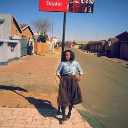 Mirriam Sewela - Mango Denim Shirt, Second Hand Vintage Dress, Sissy Boy Beige Leather Heels - The love from the hood and the love of the hood!