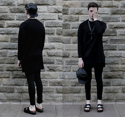 Joel Mcloughlin - Adyn Long Sweater, Os Accessories Space Ankh Necklace, Topshop Fang, Asos Faux Leather Cap - Silent Partner