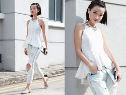 Uli C - Dressabelle Halter Peplum Top, Zara Distressed Ripped Boyfriend Jeans, Charles & Keith Pointed Wooden Sole Flats, Cheap Monday Silver Chain Necklace - My Jeans Are Unapologetic
