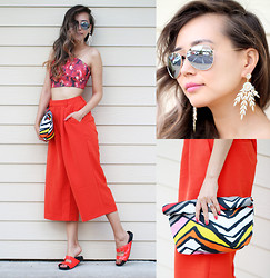 Queen Horsfall - Clic Jewels, Kristin Perry Leaf Sparkle, Wholesale Celebshades Mirrored Aviators, Frontrowshop Orange Wideled, Asos Sliders, Yigelila Top - Orange Revolt (#giveaway)
