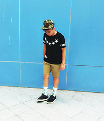 Erin Serrano - Huf White With Weed Prints, Camouflage Snapback - Wake and Bake.