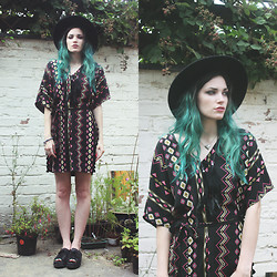 Amber Dennett - In Love With Fashion Kimono Dress, Richard Ayes Feather Necklace, Urban Outfitters Lace Sandals - Those days are gone