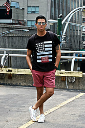 Matthew Woppel - Ray Ban Sunglasses, Eleven Paris T Shirt, Converse Shoes - Eleven Paris