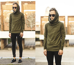 Daniil Shamatrin - Follow My Eyes Green Snood Sweatshirt, Follow My Eyes Jeans, Follow My Eyes Loafers - S I R E N S