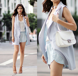 Adriana Gastélum - Bella Dahl Shorts, Necklace, Salvatore Ferragamo Bag, Ivanka Trump Sandals - Soft as powder blue
