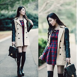Isabel Z - Style Moi Contrast Sleeve Coat, Pop Cherry Fashion Plaid Dress - Plaid and leather