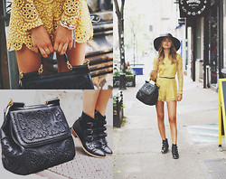 Sonya Esman - Alexis Crochet Romper, Dolce & Gabbana Miss Sicily Bag, Modern Vice Boots, Worth & Worth Hat, Vita Fede Bracelet - Easy in the East Village.