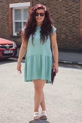 Olivia Lynn - Asos Mint Drop Hem Dress, Primark White Double Buckle Sliders - Mint Midi