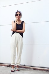 Elif Filyos - Vintage Tapered Cotton Pants, Jeffrey Campbell Crossover Sandals - Wrappidy Wrap