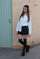 Thayse Stein - Oasap White Embroidered Button Up Chiffon Shirt, Oasap Socks 5/8 Pantyhose Heart Shape Print Tights, Oasap Black Fashion Suede Creepers -  Embroidered in black and white