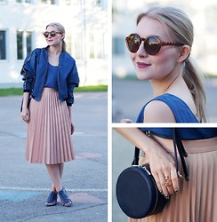 Jenni R. - R/H Bomber Jacket, Vintage Silk Top, Zara Pleated Skirt, Zara Sandals, Weekday Sunglasses, Plum Lipstick, & Other Stories Ring, & Other Stories Bag - Shades of blue