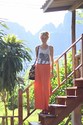 The Fashion Moodboard - Primark Ethnic Top, Primark Coral Maxi Skirt, Primark Boho Ethnic Bag - Vang Vieng, Laos