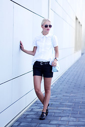Anita VDH - New Yorker Faux Leather Shorts, Frontrowshop White Blouse With Cut Outs, Boohoo Black Jelly Sandals, Primark Baby Blue Shoulder Bag - Tiny Cut Outs