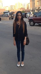 Amani Ghareeb - H&M Layered Necklace, Gilly Hicks Navy Shirt, Acid Reign Sky High Wash Jeans, New Look Flats, Redherring Flower Bracelet, The Iconic Black Cross Bag - Daisy