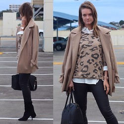 Jess Rodgers - Viktoria + Woods Calypso Coat, Theory Leather Pants, Sachi Suede Boots, Valley Girl Leopard Knit - Leopard