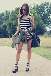 Vee Vee - Inditex Black And White Wide Stripe Vest, Laundry Boutique Leopard Print Lace Shorts, H&M Sheer Khaki Shirt, Linzi Black Cleated Sole Chunky Sandal, Studded Black Bag - Safari.