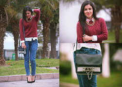 Val Val - H&M Sweater, 47th Street Jeans, Asos Leather Purse, Mango Pointed Heels, Guess? Boyfriend Watch - Burgundy Affair