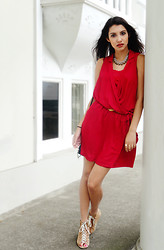 Anoushka P - Zara Red Shirt Dress, Miss Selfridge Lace Up Boots - Colour Pop