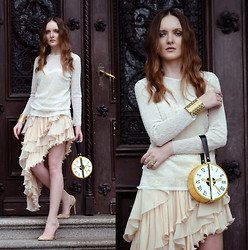 EWELYN D. - Romwe Purse, Chic Wish Dress, Zara Blouse - Romantic ruffles and the clock purse
